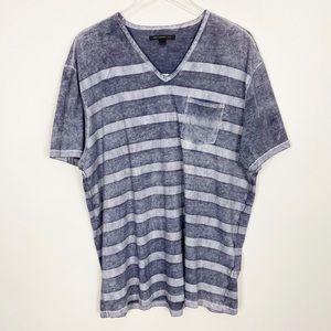 JOHN VARVATOS Striped V-Neck Tee XL Navy Blue